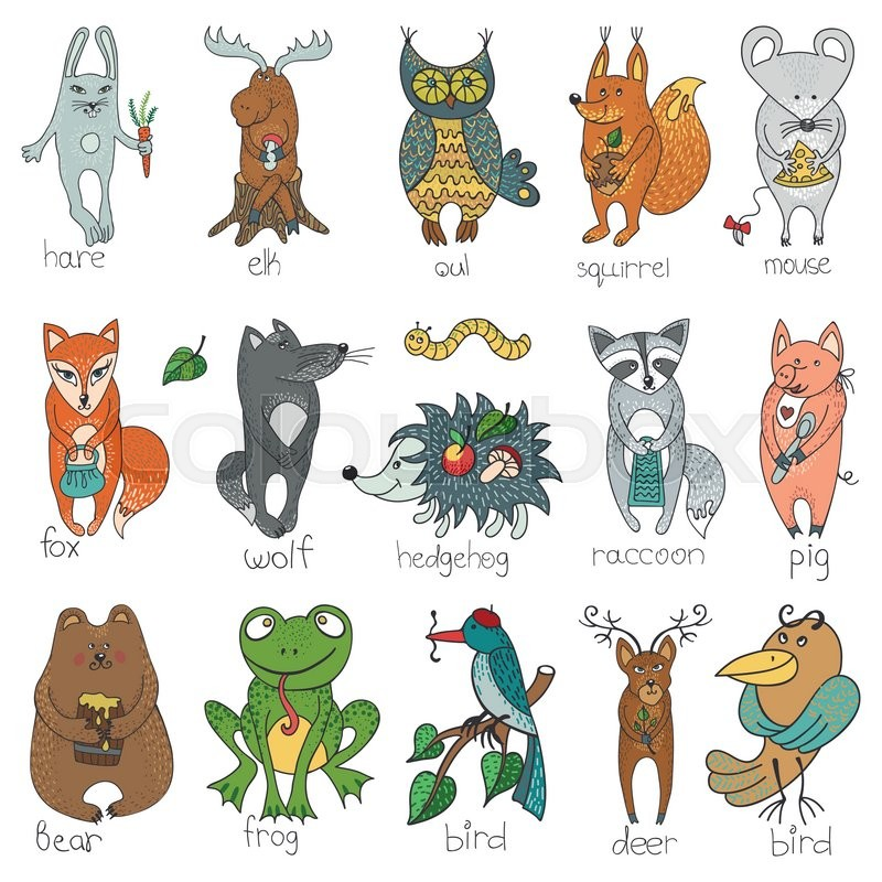 800x800 Woodland Animals Cute Set.hand Drawing Doodle Isolated On White