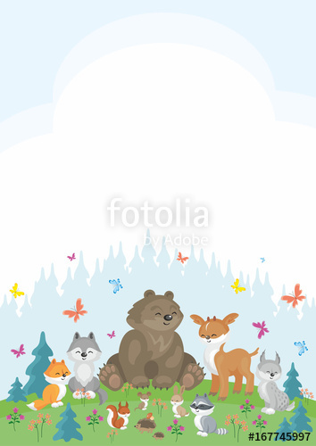 354x500 Baby Colorful Background With The Image Of A Cute Woodland Animals
