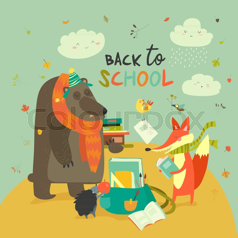 800x800 Back To School Illustaration With Cute Woodland Animals. Vector