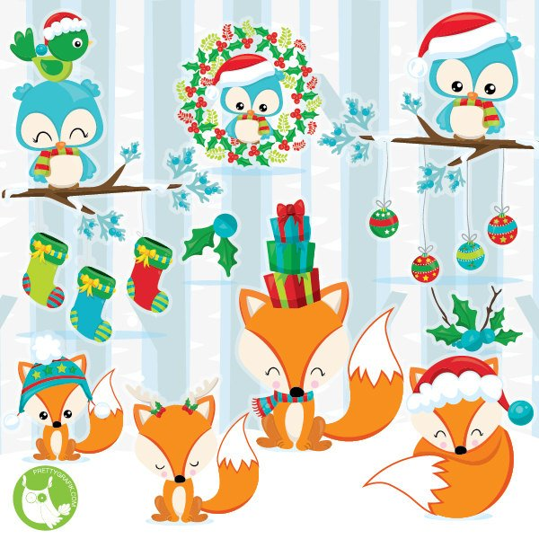 600x600 Christmas Woodland Clipart Commercial Use Fox Clipart Etsy