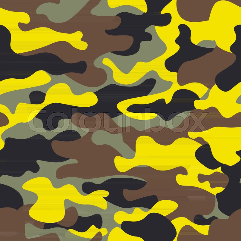 800x800 Seamless Fashion Wide Woodland And Yellow Camo Pattern Vector