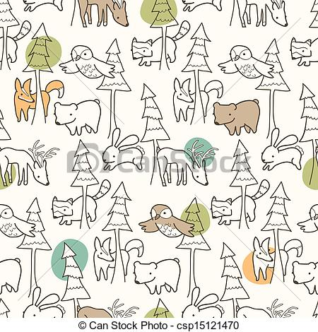450x470 Woodland Creatures Pattern. Seamless Pattern Of Woodland