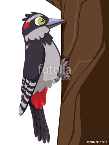 375x500 Realistic Cartoon Woodpecker Vector Illustration Standing On Tree