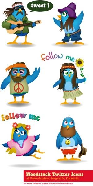 300x600 Woodstock Twitter Icons Set Free Vector In Encapsulated Postscript