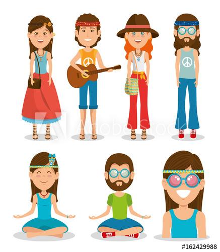 437x500 Hippie People Dressed In Classic Woodstock Sixties Vector