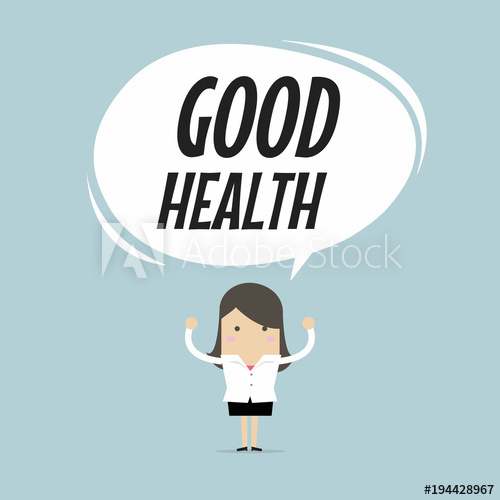 500x500 Businesswoman Standing With Good Health Word Balloon, Healthy
