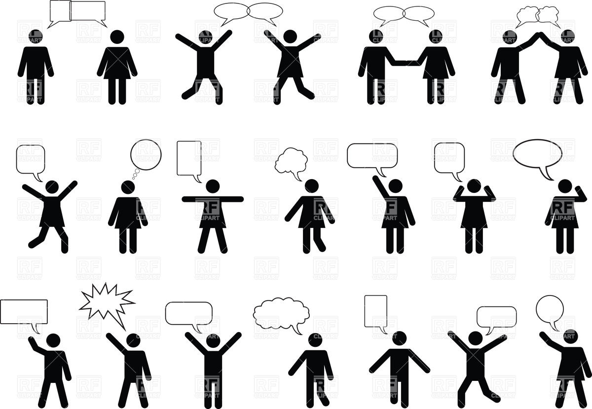 1200x829 Silhouettes Of Talking People With Speech Bubble Vector Image