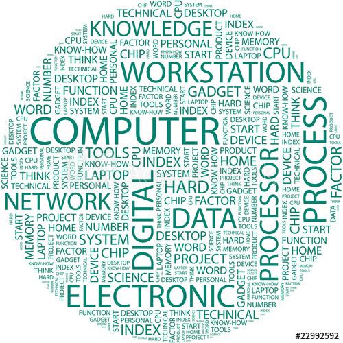 500x500 Computer. Wordcloud Vector Illustration.