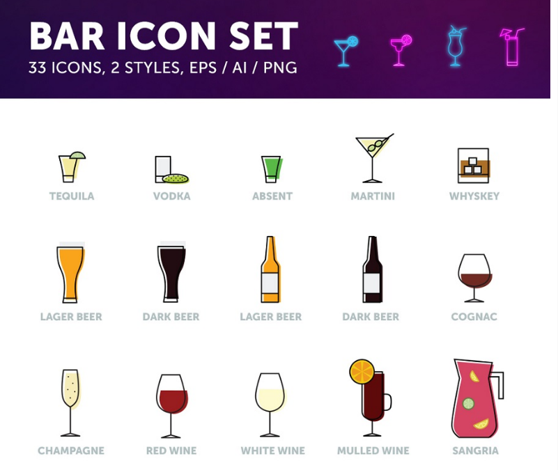 801x675 Set Of Bar Drinks Free Vector Icons