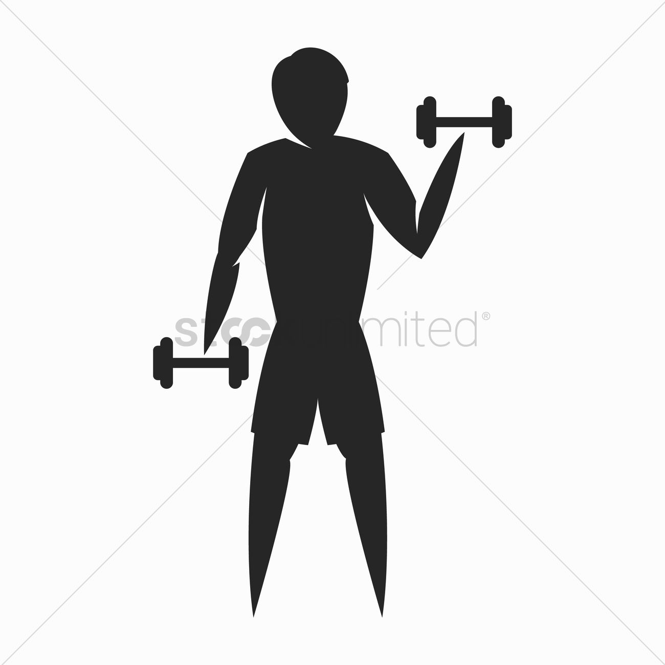 1300x1300 Silhouette Of Man Doing Workout Vector Image