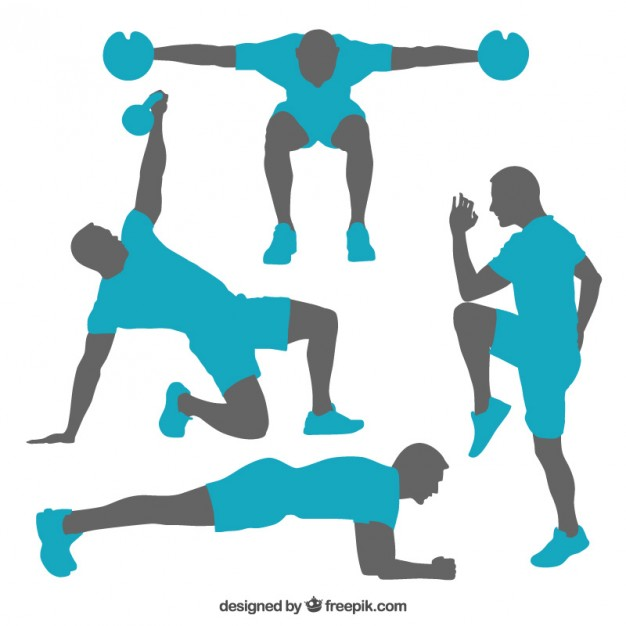 626x626 Silhouettes Of Gym Training Poses Vector Free Download