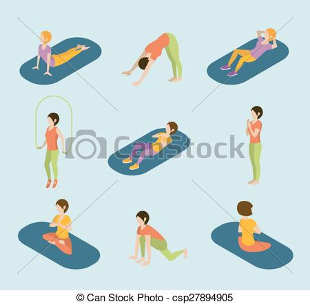450x442 Sports Women Yoga Gym Gymnastics Workout Exercise Flat 3d Web