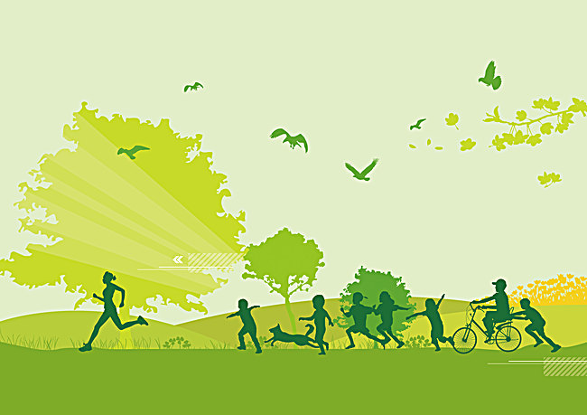 650x459 Vector Cartoon Green Background Healthy Fitness Workout, Vector