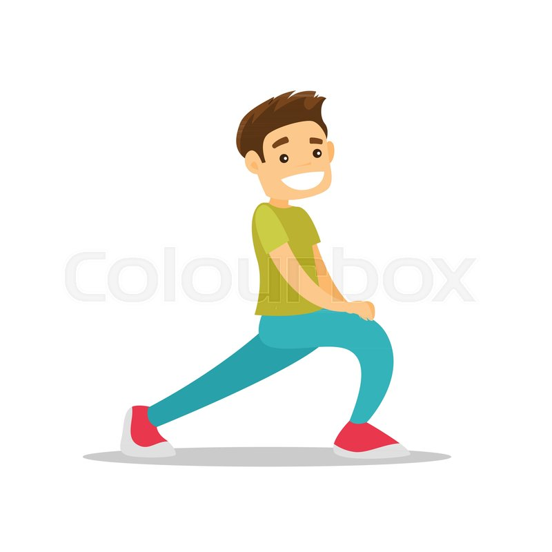 800x800 Young Happy Caucasian White Man Doing Stretching Warm Up Exercise