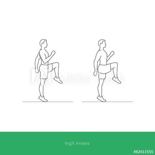 500x500 Fitness Icon High Knees Workout. Vector Design.