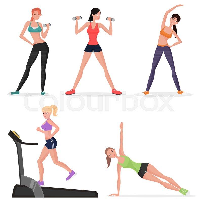 798x800 Fitness Women Female In Gym Set. Healthy Lifestyle Girls Make Yoga