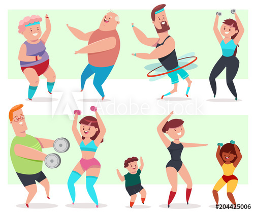 500x417 Fitness Young And Elderly Men, Women And Children Doing Exercise