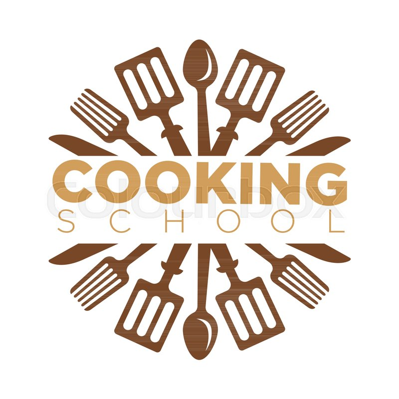 800x800 Cooking School Masterclass Logo Template Of Chef Cooking Utensils