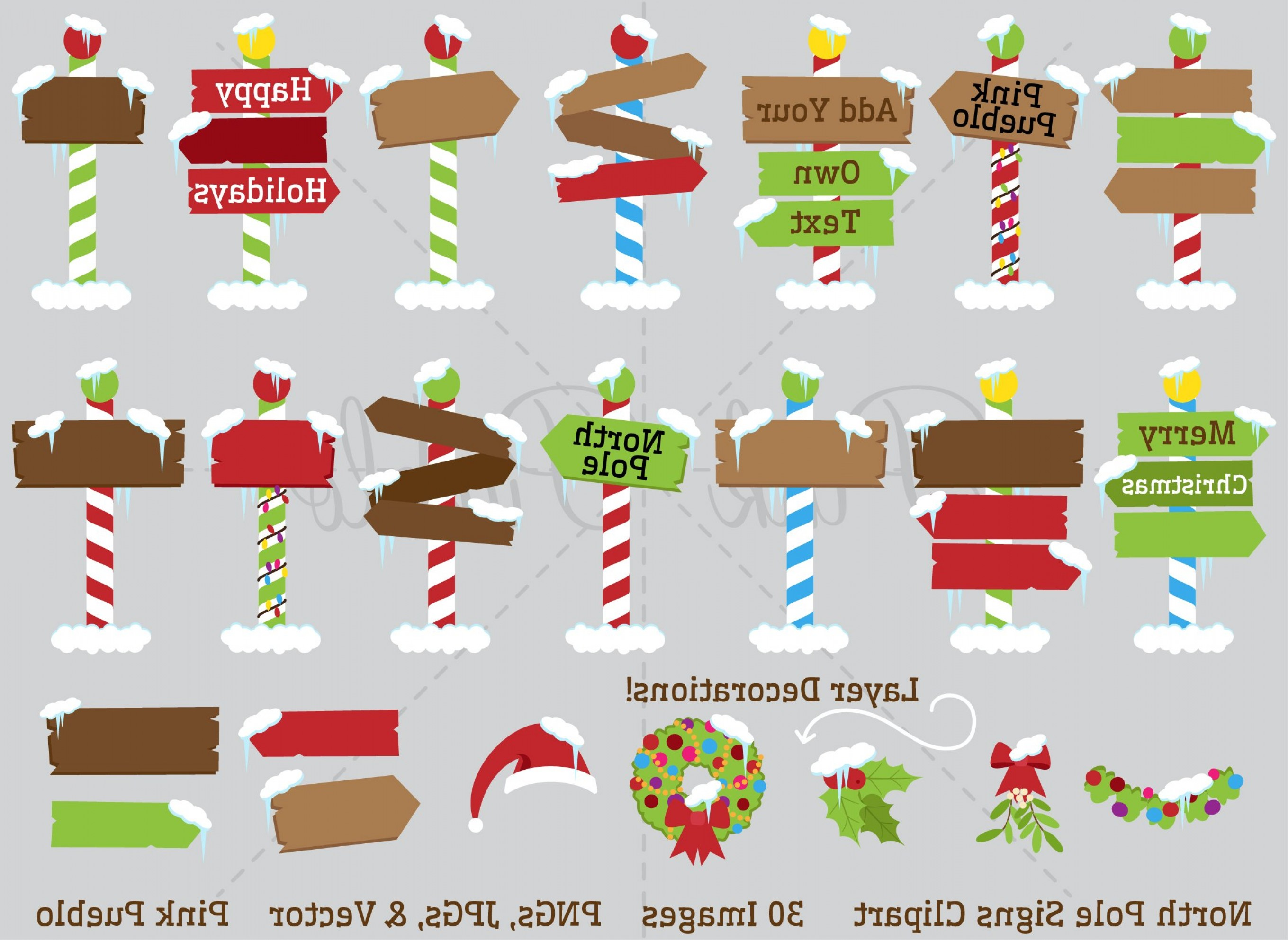 2719x1986 North Pole Or Santas Workshop Signs Clipart And Vectors Arenawp
