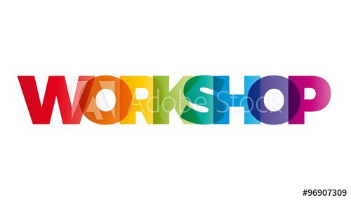 500x286 The Word Workshop. Vector Banner With The Text Colored Rainbow