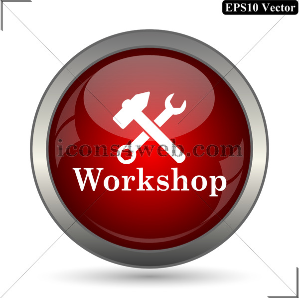 600x597 Workshop Vector Icon. Workshop Vector Button. Eps10