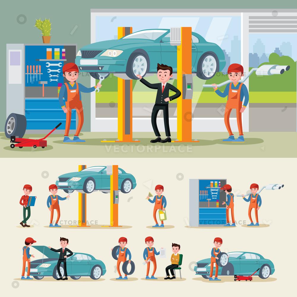1000x1000 Auto Mechanics Composition Different Car Repair Vector