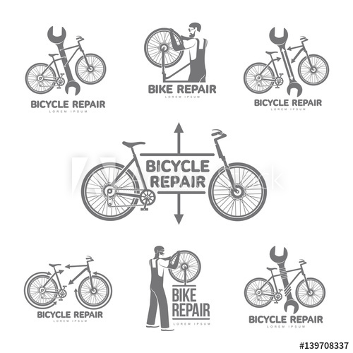 500x500 Bicycle Repair Workshop Vector Set Logo Template For Your Design