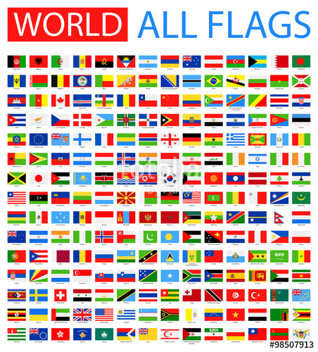 452x500 All World Vector Flags. Vector Collection Of Flat Flags. Stock