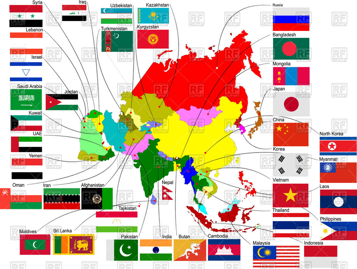 1200x905 Map Of Asia With Country Flags Vector Image Vector Artwork Of