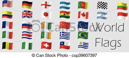 450x204 Set Of Flags. Set Of World Flags, Vector Illustration.