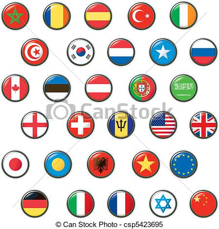 448x470 Set Of World Flags. Vector Button.