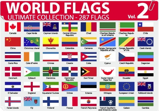 558x391 Various Of World Flags Vector Set Free Vector In Encapsulated
