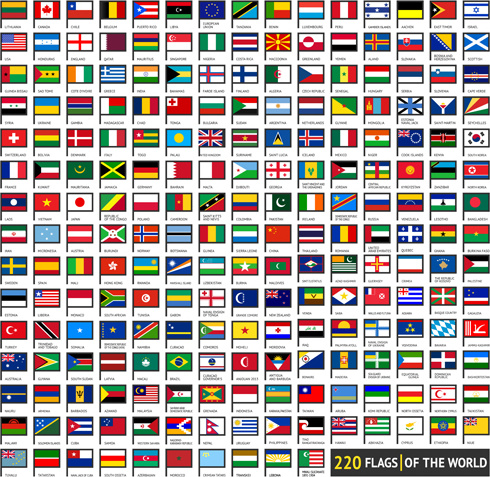 490x477 Vector World Flags Design Elements Set Free Vector In Encapsulated
