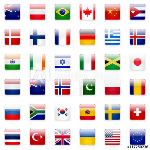 500x500 World Flags Vector Collection. 36 High Quality Square Glossy Icons