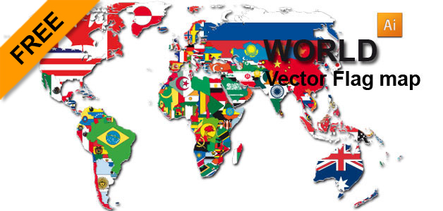 628x300 Free Vector Flag World Map