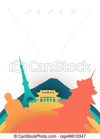 337x470 Travel Japan 3d Paper Cut World Landmarks. Travel Japan