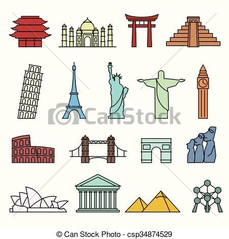450x470 World Landmarks Outline Icons Set. World Landmarks Outline Icons