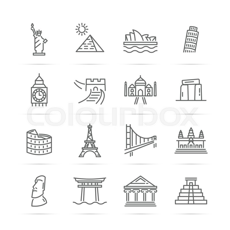 800x800 World Landmarks Vector Line Icons, Minimal Pictogram Design