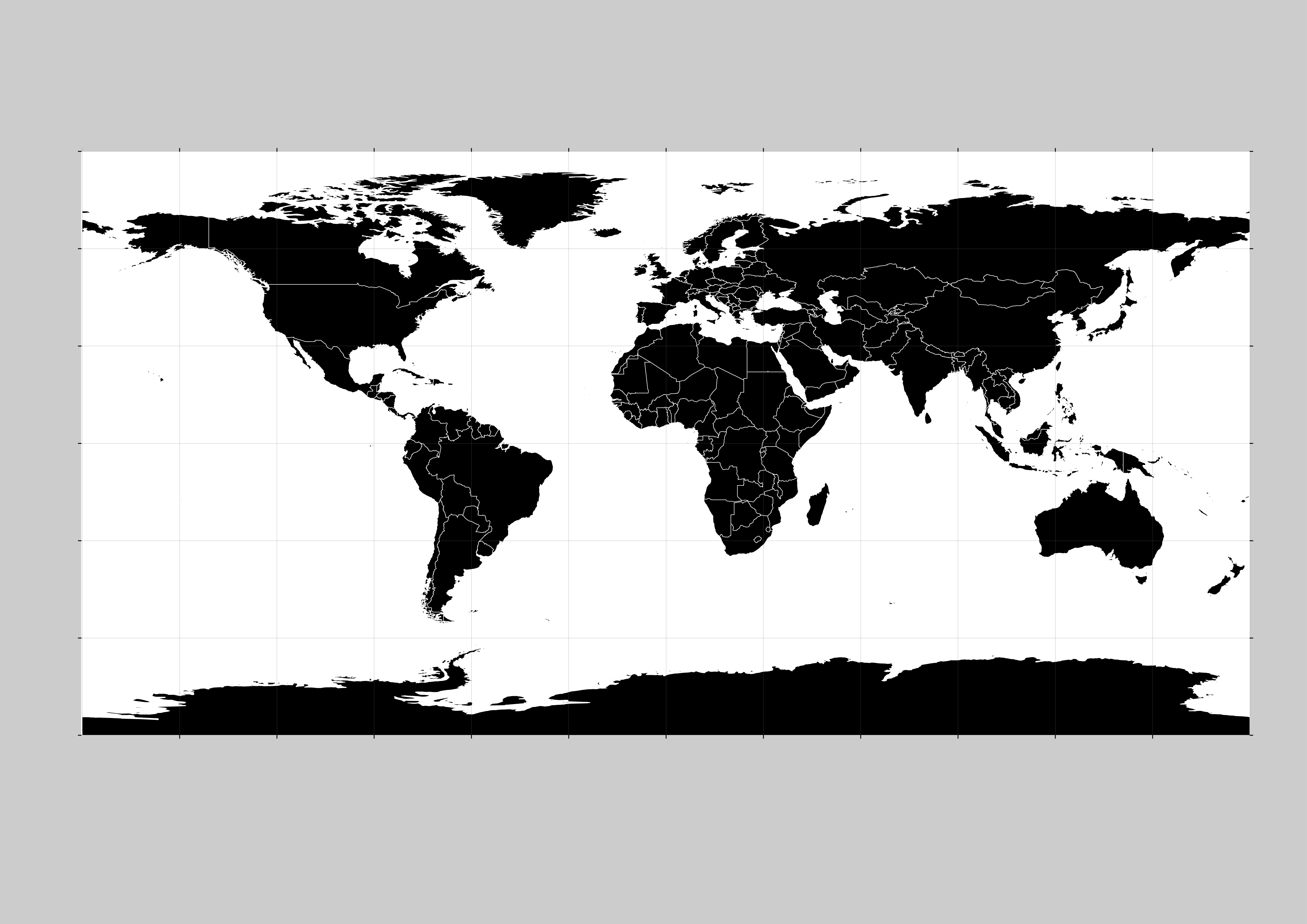 World Map Black And White Vector