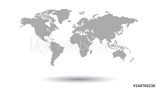 500x286 Dotted Black World Map On White Background. World Map Vector