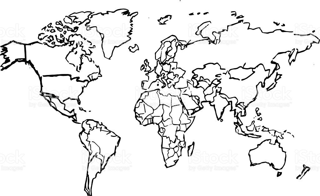 1024x630 Maps. Map Of The World Black And White