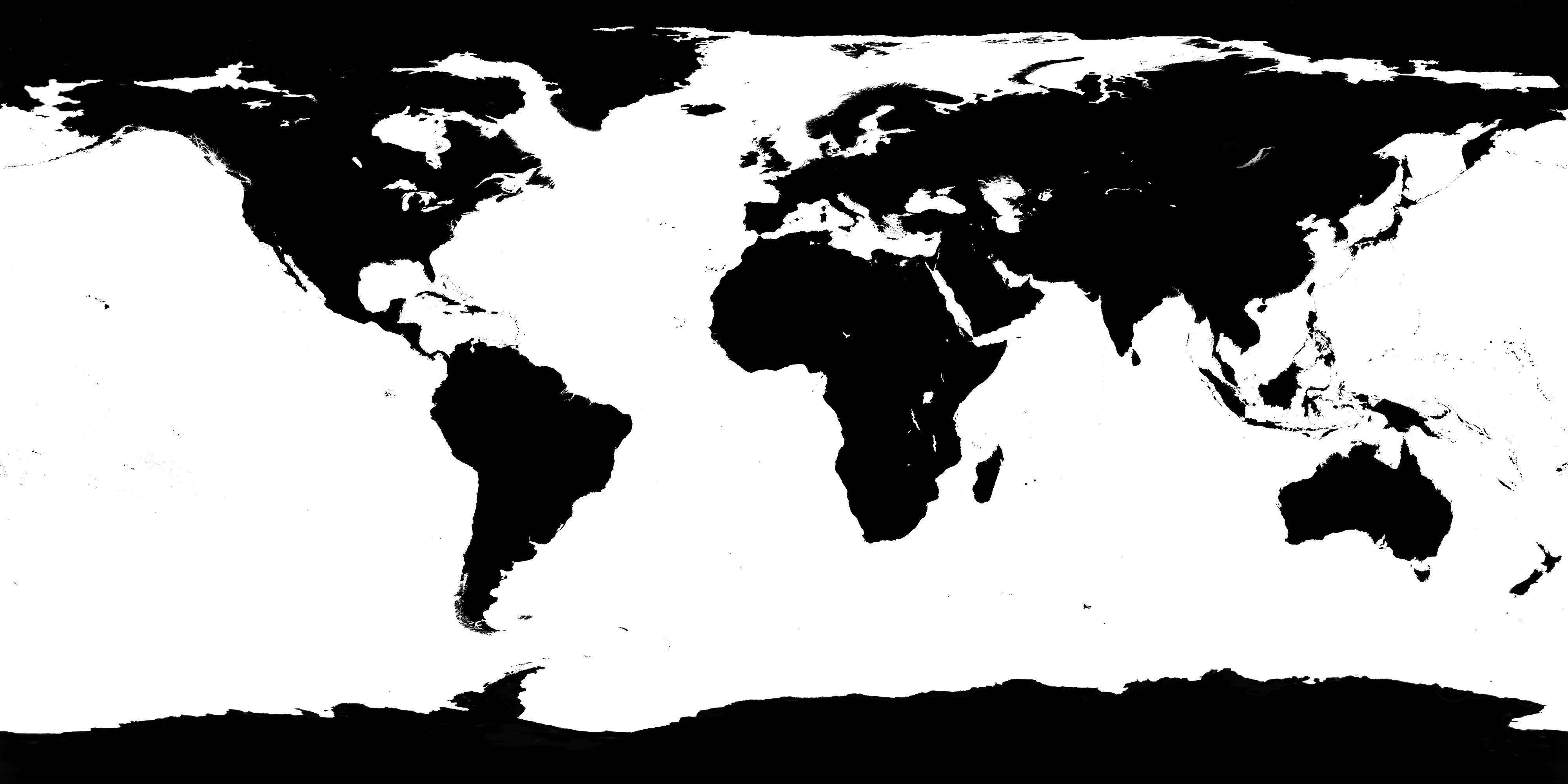 4000x2000 World Map Black And White Vector Save Free Favs