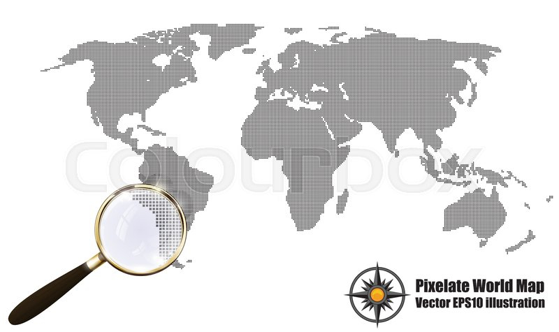 800x475 World Map Silhouette Vector Abstract Pixelated Map Black And White