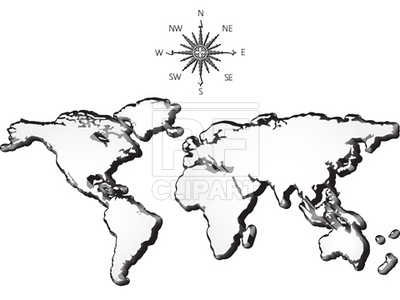 400x300 World Map And Wind Rose Vector Image Vector Artwork Of Signs