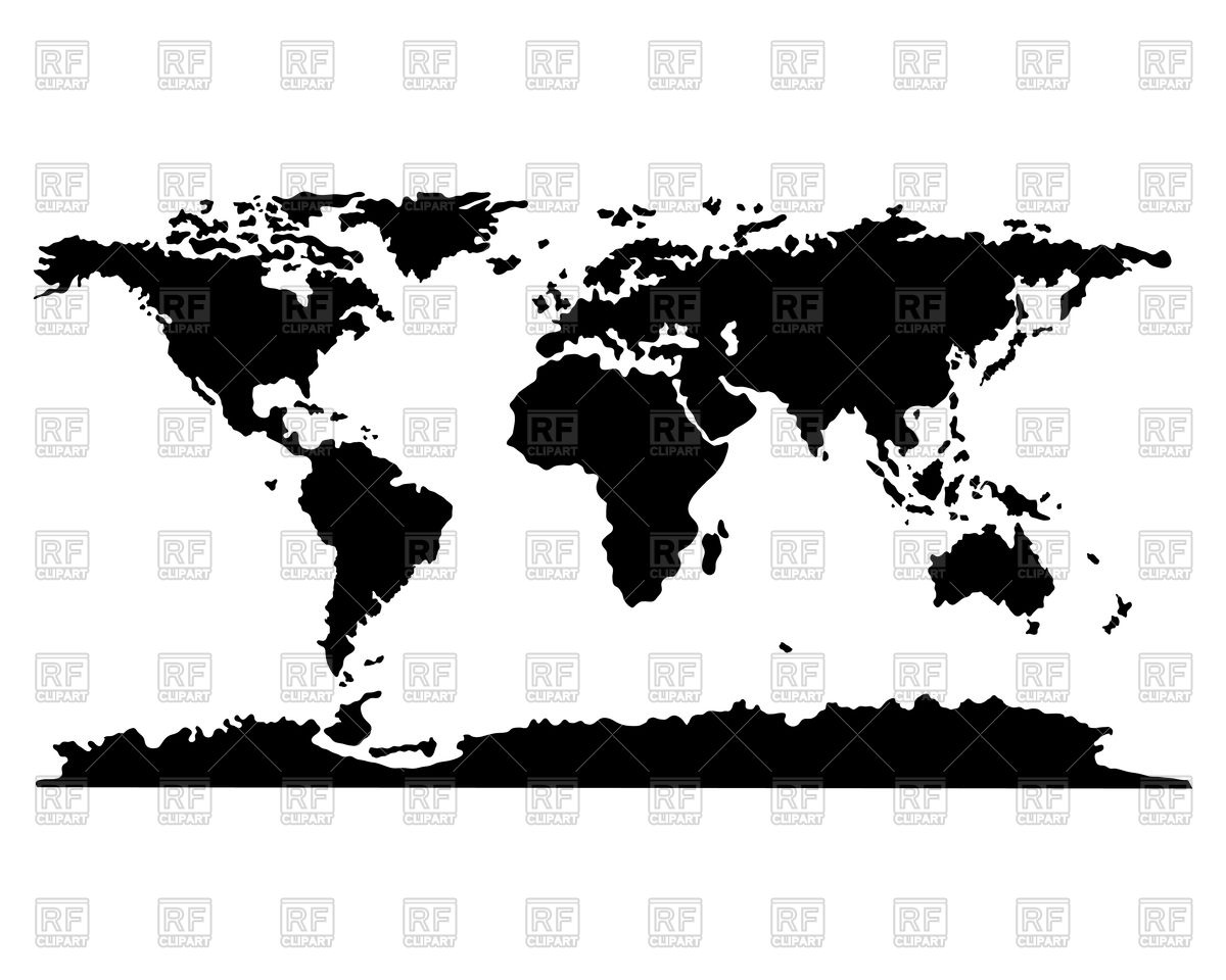 1200x960 World Map Black And White Stock Vector
