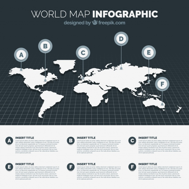 626x626 Black And White World Map Infographic Vector Free Download