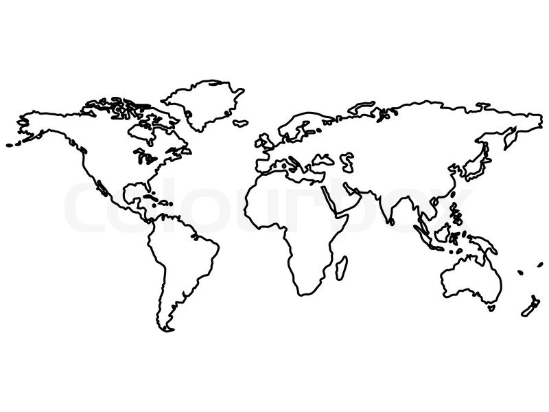 800x600 Black World Map Outlines Isolated On White, Abstract Vector Art