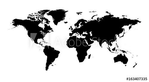 500x278 Blank Black World Map On Isolated White Background. World Map