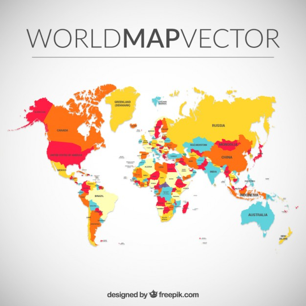 626x626 Color World Map Colored World Map Vector Free Download Maps On Us