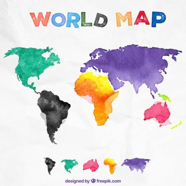 600x600 Watercolor World Map Vector Free Download World Map Vector Image